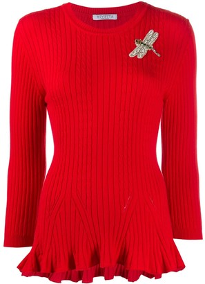 VIVETTA knitted dragon fly appliqué jumper