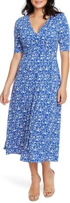 Chaus Laura Floral Print Faux Wrap Midi Dress