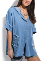 Blue Wash Denim Hooded Button-Up Top