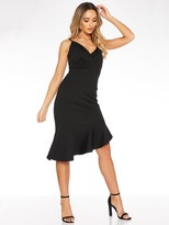 Quiz Marcella Strappy Wrap Asymmetrical Frill Midi Dress - Black