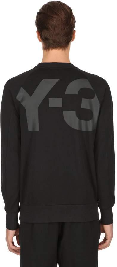 Y-3 Back Logo Printed Cotton Sweatshirt