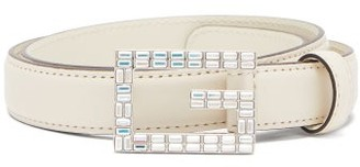 Gucci Iridescent-crystal G-buckle Leather Belt - Womens - White