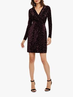 Phase Eight Stella Velvet Wrap Dress, Grape