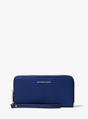 MICHAEL Michael Kors MK Jet Set Pebbled Leather Double-Zip Continental Wristlet - Sapphire - Michael Kors