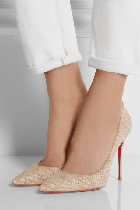 Christian Louboutin Décolleté 100 snake-effect cork pumps