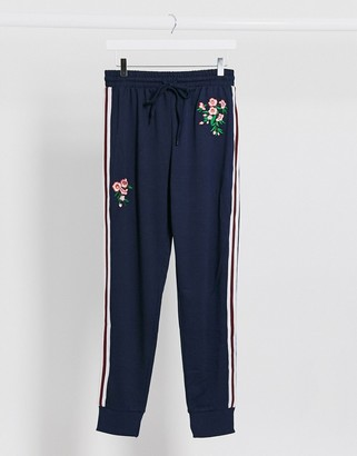 Brave Soul joggers with flower print in navy