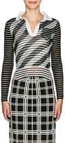 Fendi Women's Mesh-Layered Striped Polo Shirt