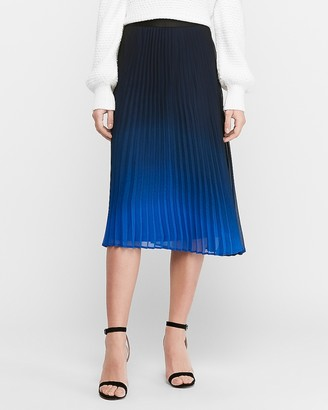 Express High Waisted Pleated Ombre Satin Midi Skirt