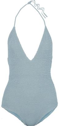 Onia Nina Smocked Halterneck Swimsuit