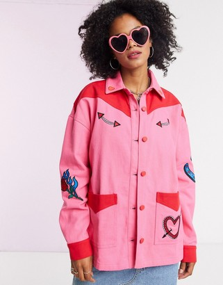 Lazy Oaf oversized western jacket with embroidered patches co-ord
