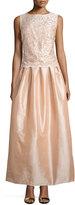 Marina Sleeveless Bateau-Neck Lace Combo Gown, Blush