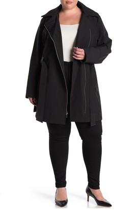 Via Spiga Hooded Asymmetrical Zip Faux Leather Trim Jacket (Plus Size)