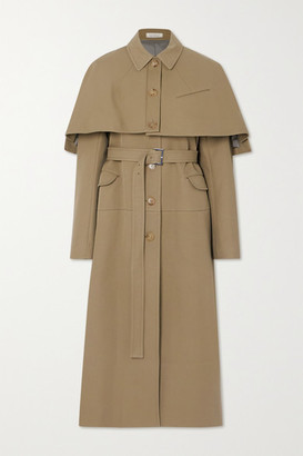 Nina Ricci Convertible Cotton And Silk-blend Gabardine Trench Coat - Sand