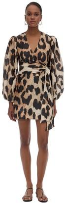 Ganni Leo Print Silk & Linen Wrap Mini Dress