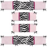 JoJo Designs Sweet Funky Zebra 4-Piece Crib Bumper Set in Pink