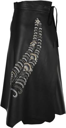 Prada Embeoidered Leather Skirt