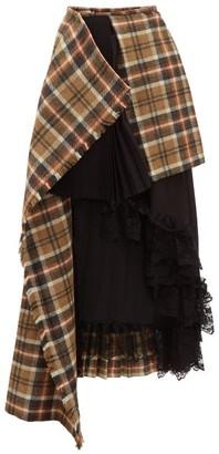 Preen by Thornton Bregazzi Amaya Asymmetric Wool Tartan Skirt - Brown Multi