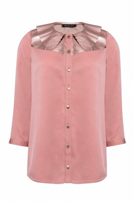 Manley Mia Silk Shirt With Metallic Leather Collar Pink