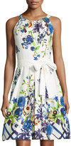Chetta B Belted Floral Sleeveless Fit-&-Flare Dress, White/Ink
