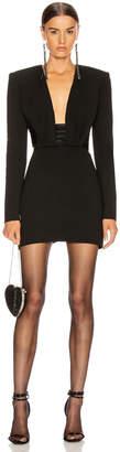 Saint Laurent Long Sleeve Open Back Mini Dress in Black | FWRD