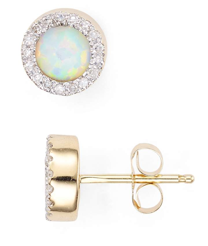 Adina Opal & Diamond Disc Stud Earrings