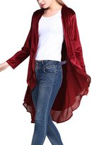 Urban CoCo Women's Long Sleeve Velvet Cardigan Coat with Asymmetric Chiffon Hem (L, )