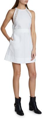 Chloé Lace Inset Sleeveless High-Neck Short Dress