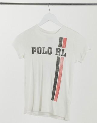 Polo Ralph Lauren stripe logo t-shirt in white