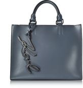 Karl Lagerfeld K/Metal Signature Thunder Gray Leather Shopper Bag
