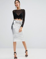 Boohoo Metallic Pencil Skirt