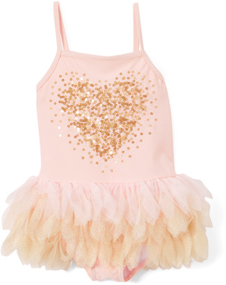 Kate Mack Girls' One Piece Swimsuits PINK - Pink Sequin Heart Tutu One-Piece - Infant & Toddler