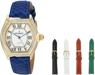 Peugeot Women's 14K Gold Plated Tank Roman Numeral Crystal 5 Band Interchangeable Gift Watch Set 679G