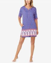 Ellen Tracy Border-Print Knit Sleepshirt