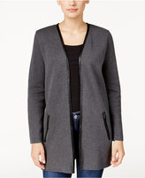 Charter Club Petite Faux-Leather-Trim Cardigan, Only at Macy's