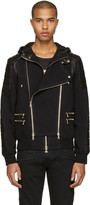 Balmain Black French Terry & Leather Jacket