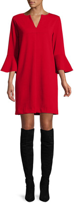 Joan Vass Petite Slit-Neck 3/4 Bell Sleeve A-Line Crepe Dress