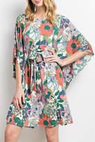 Easel Coral Kimono Dress