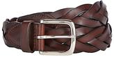 John Lewis Full Grain Leather Plaited Belt, Brown