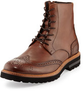 Kenneth Cole Click-ery Leather Wing-Tip Boot, Cognac
