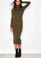 Missy Empire Naomi Khaki Glitter Cold Shoulder Turtle Neck Knitted Midi Dress