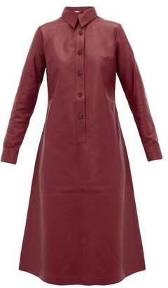 Dodo Bar Or Paya Panelled Leather Shirtdress - Womens - Burgundy