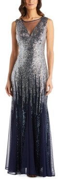 R & M Richards Petite Ombre Sequin Gown