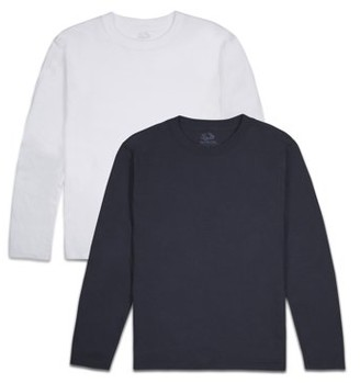Fruit of the Loom Boys' 4-18 Soft Long Sleeve T Shirts, Multi-Color 2 Pack