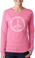 LOS ANGELES POP ART Los Angeles Pop Art The Word Peace In 77 LanguagesWomen's Long Sleeve Word Art Graphic T-Shirt