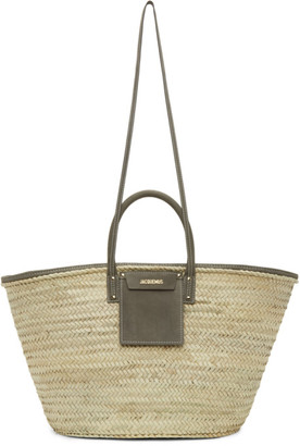 Jacquemus Beige and Grey Le Grand Panier Soleil Tote