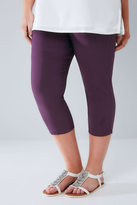 Yours Clothing Purple Pull On Stretch Cropped Trousers
