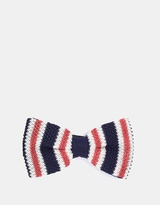 Red Stripe Knitted Bow Tie