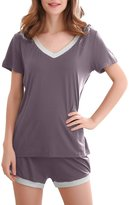 GYS Women's Bamboo Sleepwear Short Sleeve V Neck Pajama Top with Pj Shorts (3 Colors,S-2XL) (L, )