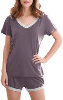 GYS Women's Bamboo Sleepwear Short Sleeve V Neck Pajama Top with Pj Shorts (5 Colors,S-2XL) (XL, )