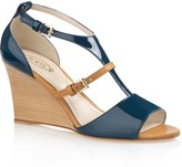Tod's Patent Leather T-Strap Wedge Sandals